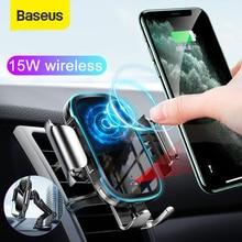 Baseus 자동차 전화 충전기 스탠드 15W 무선 충전 마운트 아이폰에 대 한 삼성 모바일 폰 충전 홀더 자동 공기 콘센트 지원