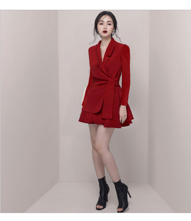 Autumn Notched Solid Casual Office Blazer Skirt Women Two Piece Sets Work Suits Dress 21