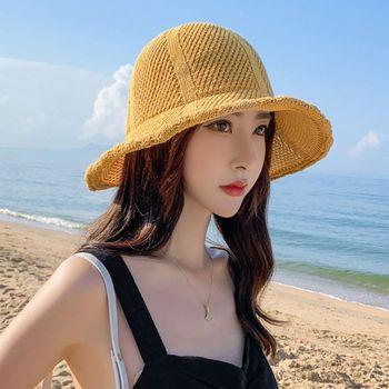 Sombrero de playa con visera tejida de paja de verano para mujer, sombrero de macarrón de Color caramelo con ala ancha ondulada, protección UV, gorra plegable de pescador