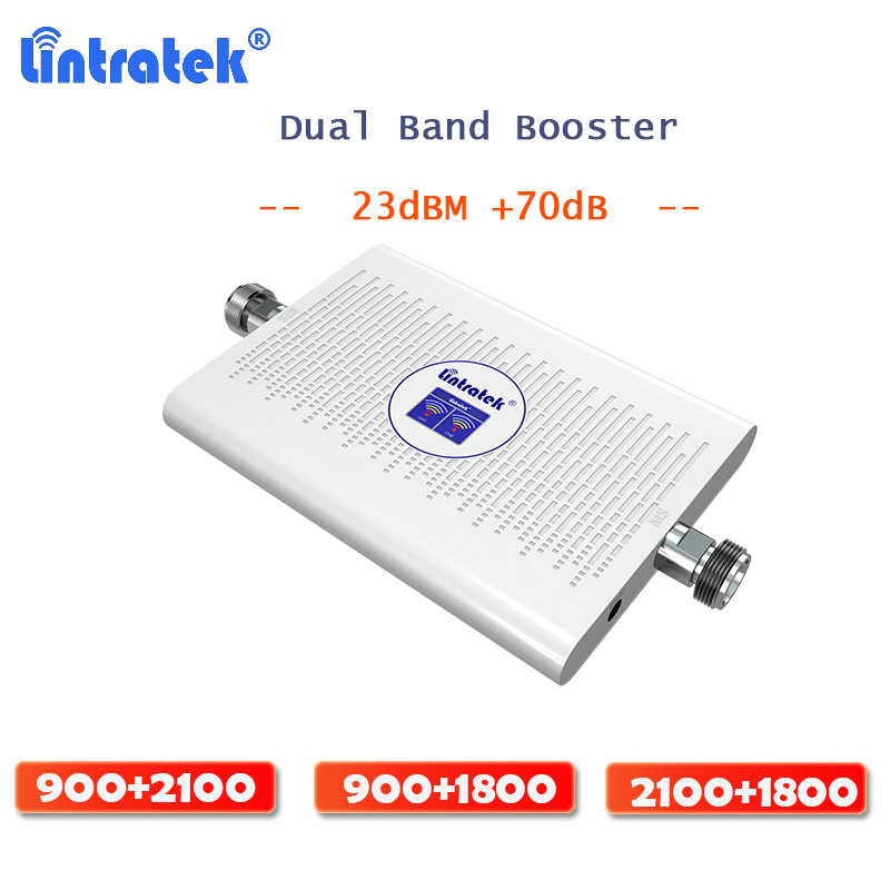 Lintratek Dual Band Repeater GSM 4G Signal Booster Cellular Mobile GSM WCDMA DCS LTE 3G 4G AGC 70dB Signal Repeater Amplifier