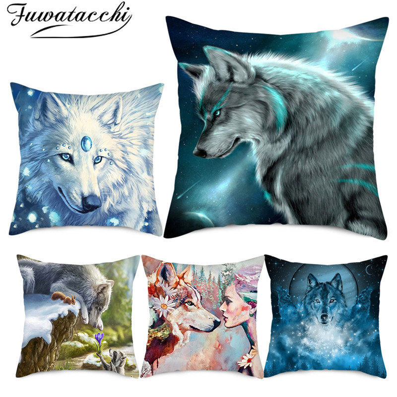 Fuwatacchi Wild Animals Photo Pillow Cover Gregarious Wolf Cushion Cover New Printed Throw Pillowcase For Home Sofa Decorations