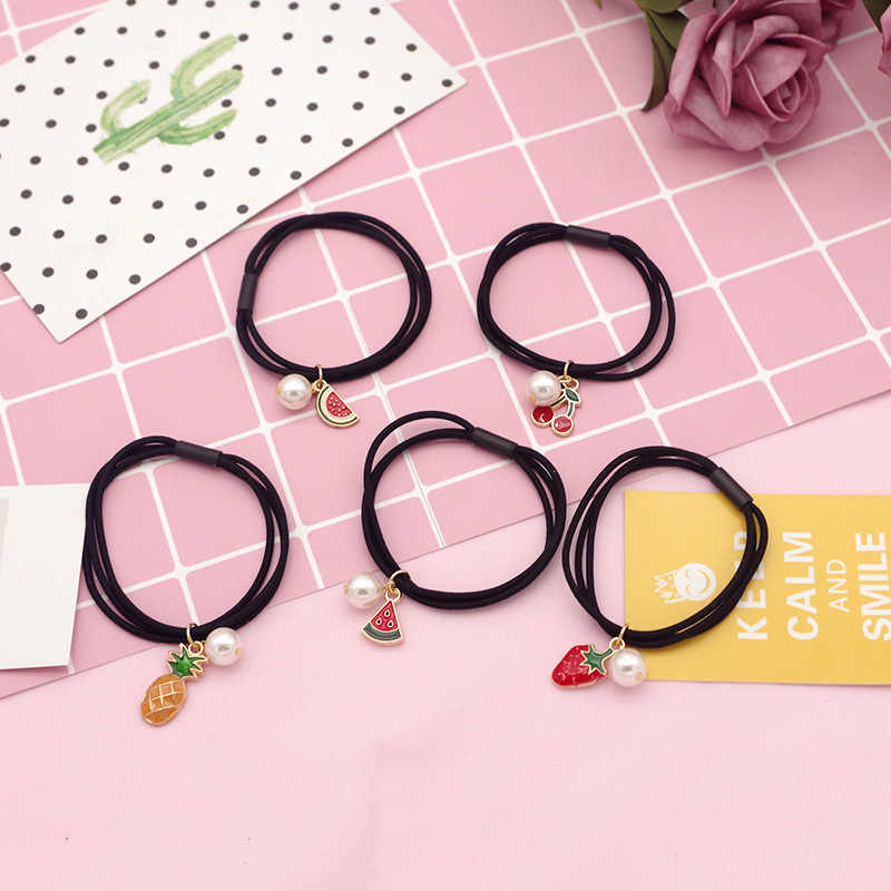 Cloth Alloy Material Kids Girls Elastic Hair Accessory Band Cute Cartoon Fruit Decoration With Pearl Rope Ponytail Headbands