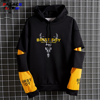 Plus Size Patchwork Contrasted Color Hoodies Men Casual Hooded Sweatshirt Hip Hop Streetwear Fashion Hoodie 2020 Cotton