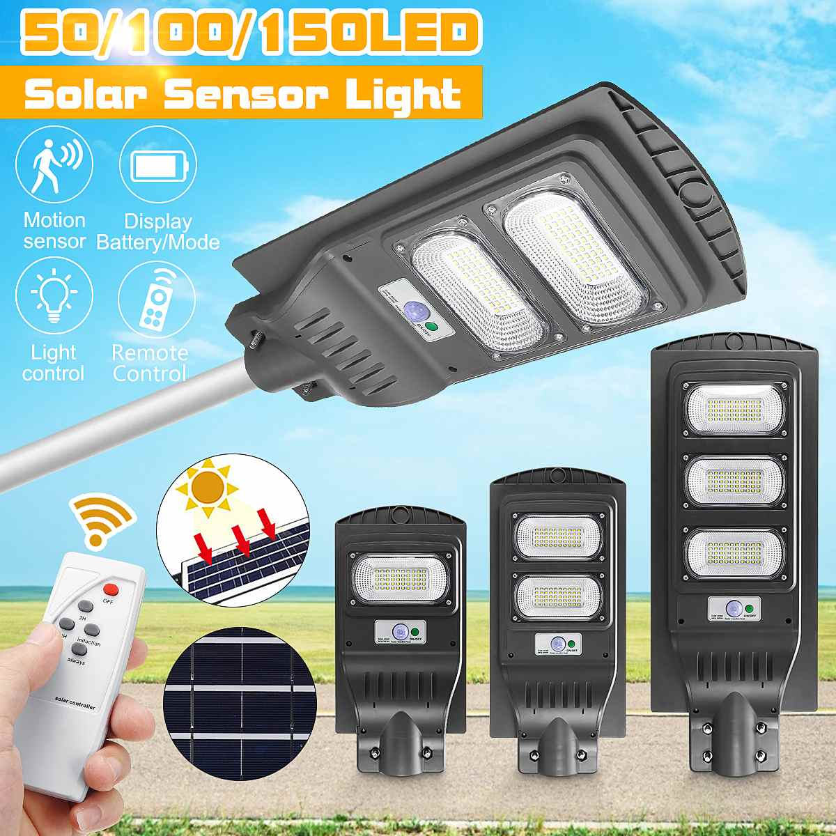 LED Street Light 60/90/150W LED Solar Light Radar PIR Motion Sensor Wall Timing Lamp+Remote Waterproof for Plaza Garden Yard