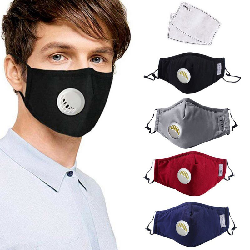 Hot PM2.5 Reusable Mouth Mask With Breathing Valve Anti-dust Anti Haze Respirator Face Masks Filter Pad Face Mouth Masks
