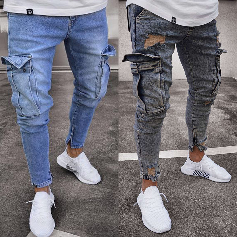 Europe And America Hot Selling Elasticity MEN'S Jeans Trend Knee With Holes Zipper Skinny Trousers
