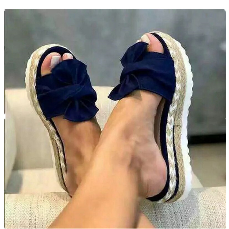 Women Slippers Slides Butterfly Knot Flock Ladies Platform Flat Shoes Woman Sandals Comfortable Casual Fashion Female 2020 Hot