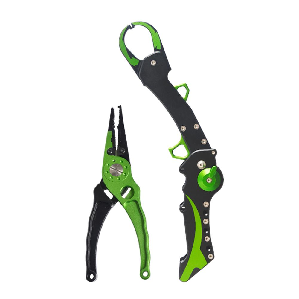Aluminum Fishing Lip Grip Gripper Folding Equipment Tools Hook Remover Fishing Pliers Line Cutter Scissors Fish Accessories-in Fishing Tools from Sports & Entertainment