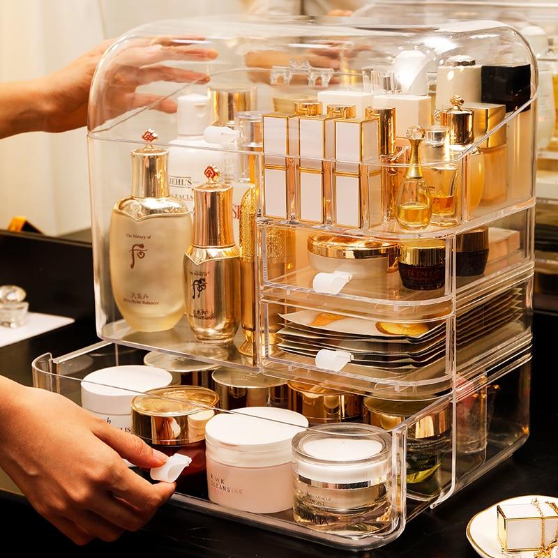 Moda acrílico maquiagem organizador caixa de armazenamento de cosméticos grande capacidade de desktop à prova de poeira batom titular organizador de armazenamento de maquiagem