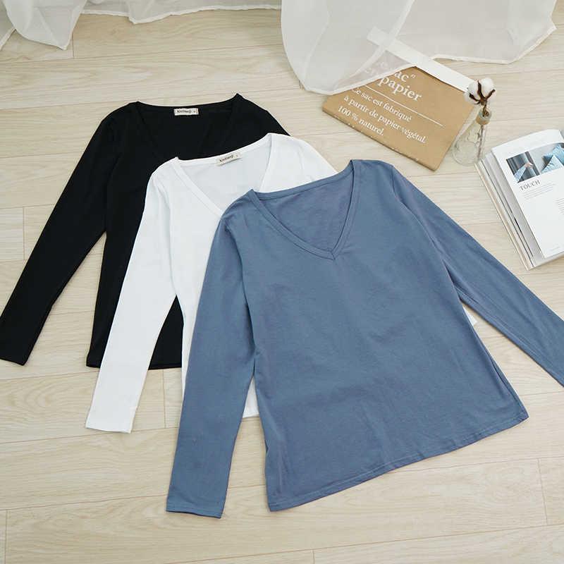 1 sztuk/2 sztuk paczka miękka koszula na długi rękaw damskie bluzki bluzka dekolt dziewczyny zwykła koszula podkoszulek M30166