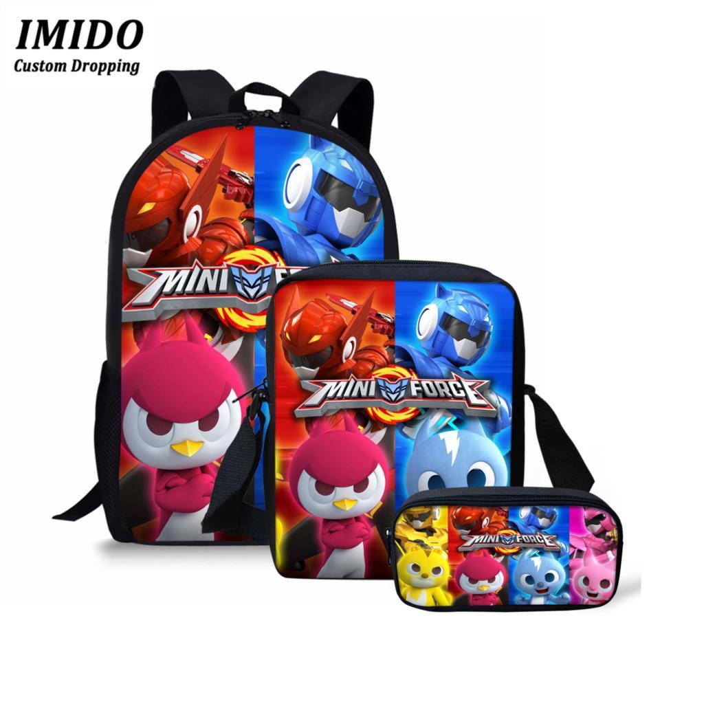 IMIDO 3D Anime Mini Force Printing Backpack For Boys 3 Pcs/Set Bags Cartoon School Bag Children Kindergarten Zaino Scuola 2020