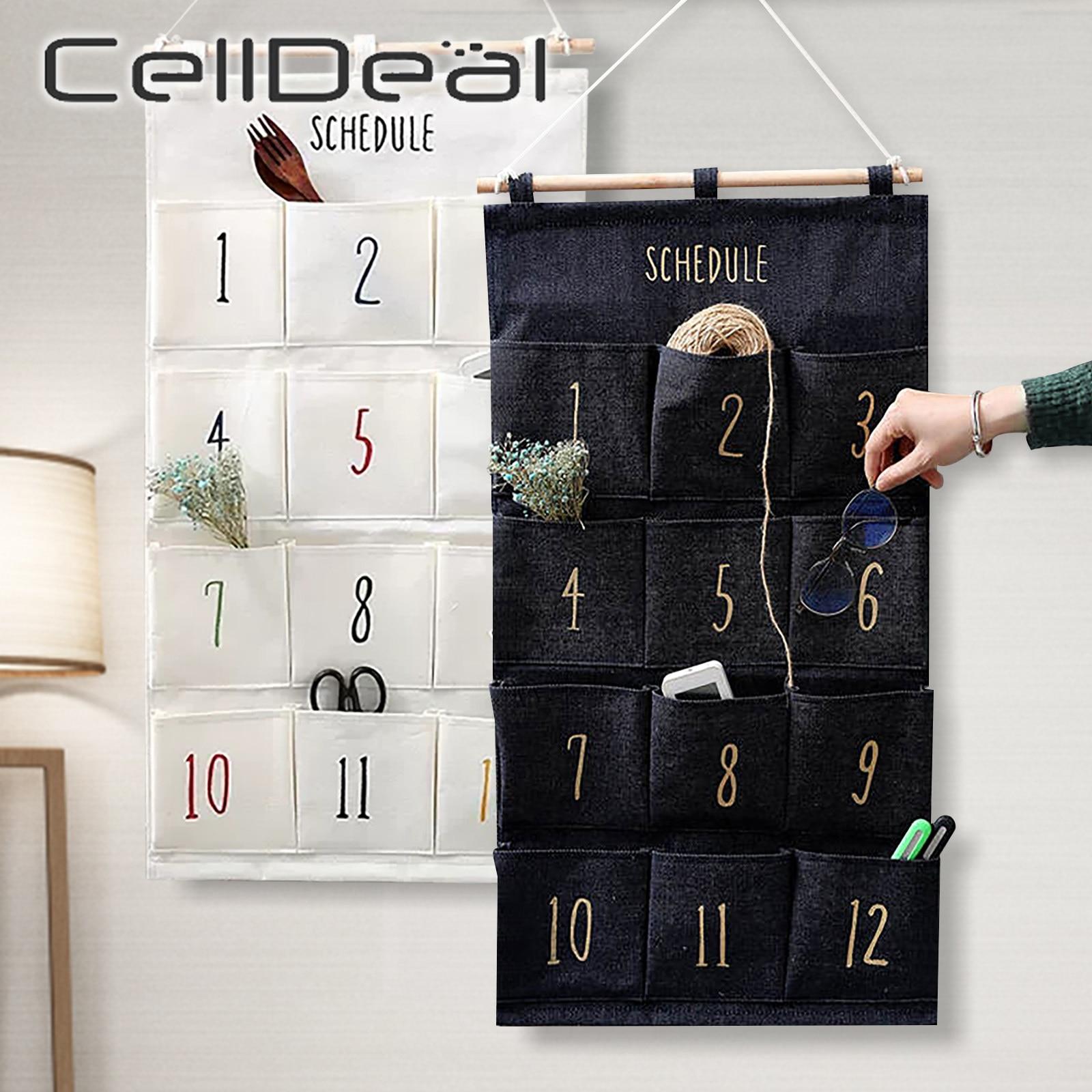 8/12 Pocket Hanging Storage Bag Pocket Over Door Organizer Multi-function Sundries Organizer Bag Cotton Cloth Toy Container