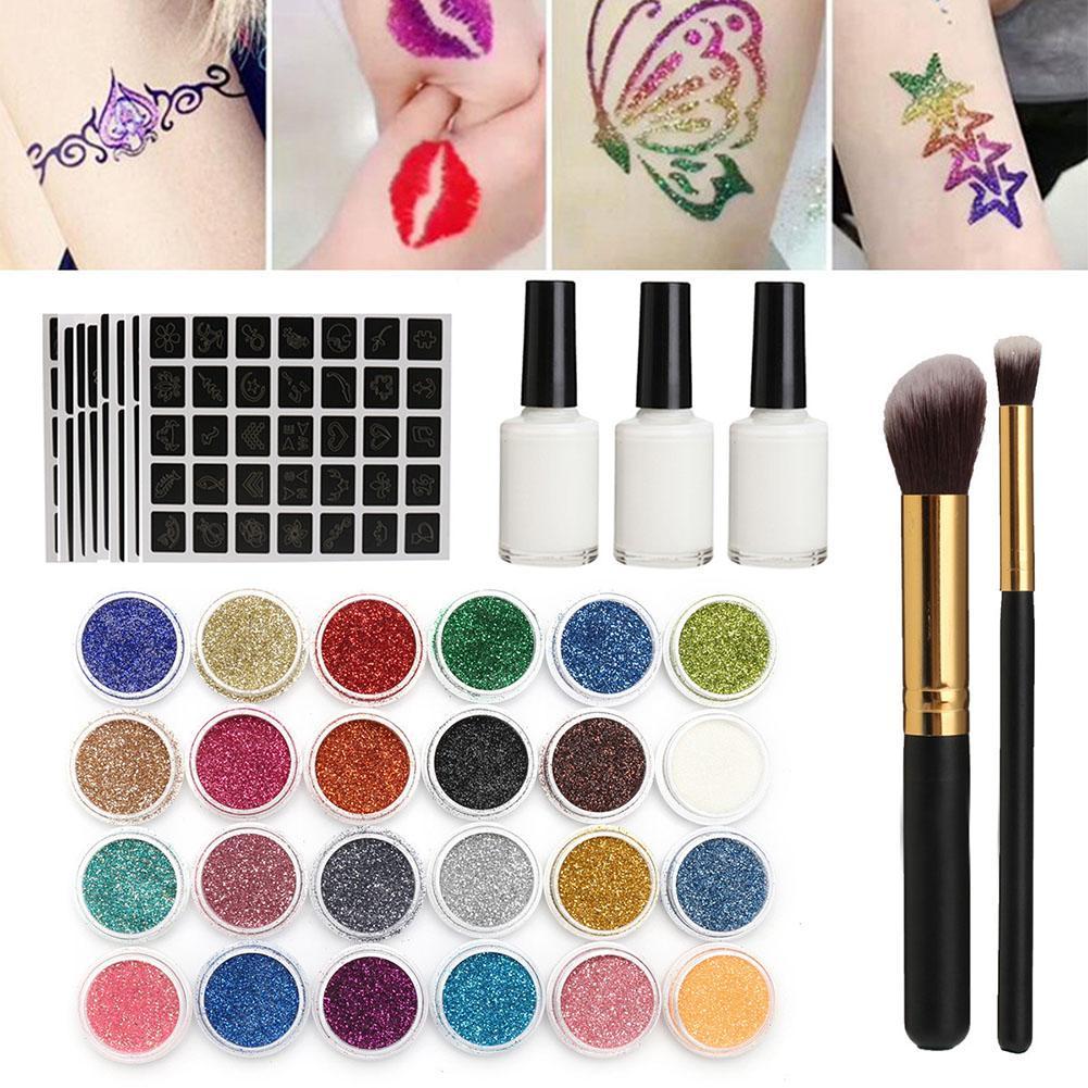 12/24/45Pc Colors Set Flash Diamond Shimmer Glitter Powder For Temporary Tattoo Kids Face Body DIY Nail Painting Art Makeup Tool
