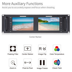 Image 3 - Feelworld Monitor de montaje en Rack LCD, D71 H Dual, 7 pulgadas, 3RU, IPS, 1280x800, HDMI, portátil, 2 pantallas, Monitor de transmisión