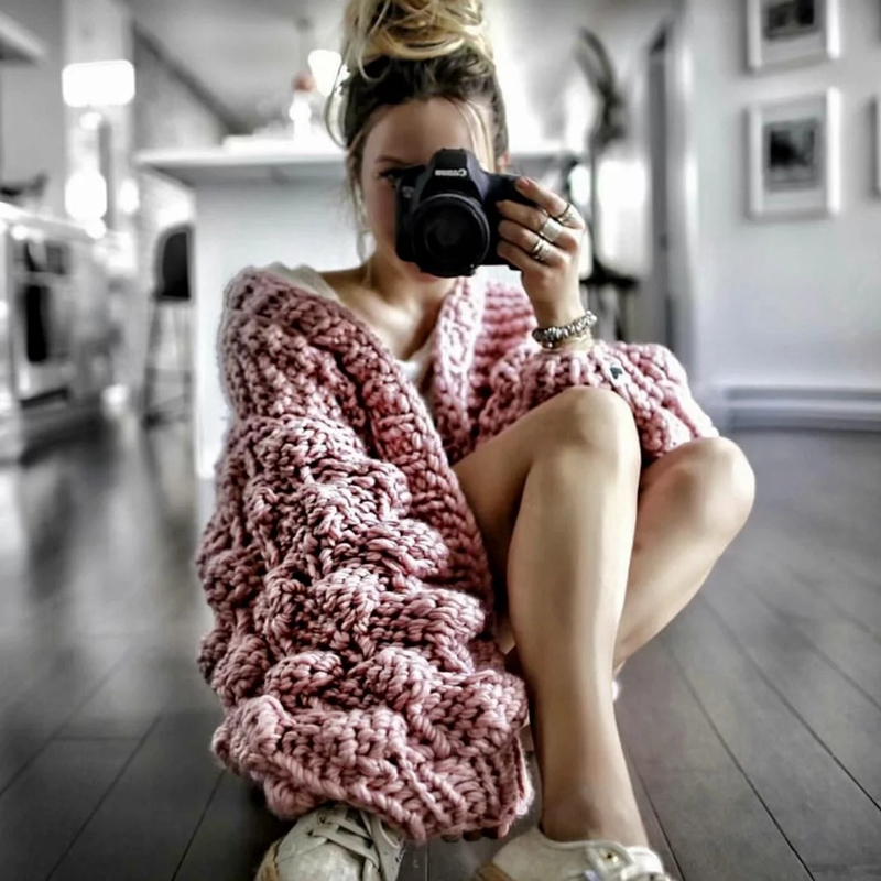 Vêtements pour femmes chandails tricotés Cardigans manteau automne hiver dames solide col en v lanterne manches manteau vêtements d'extérieur femmes hauts