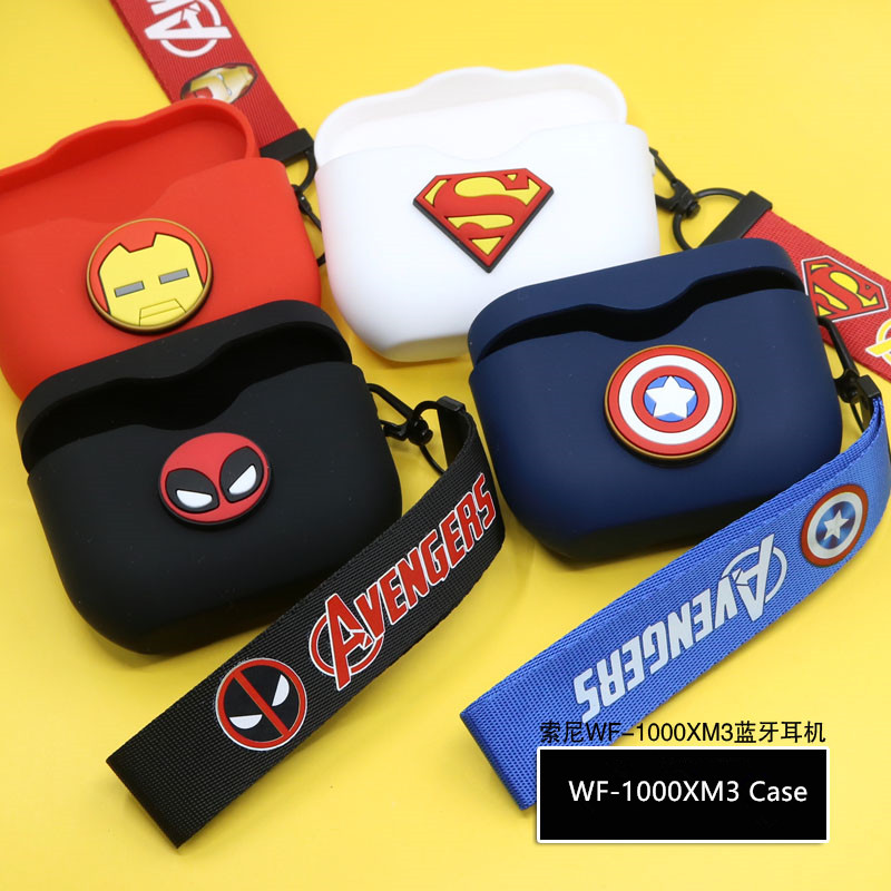 Cartoon Silicone Protector For Sony WF-1000XM3 Case The Avengers Cute Protective Cover For WF 1000XM3 Earphone Charging Box Bag