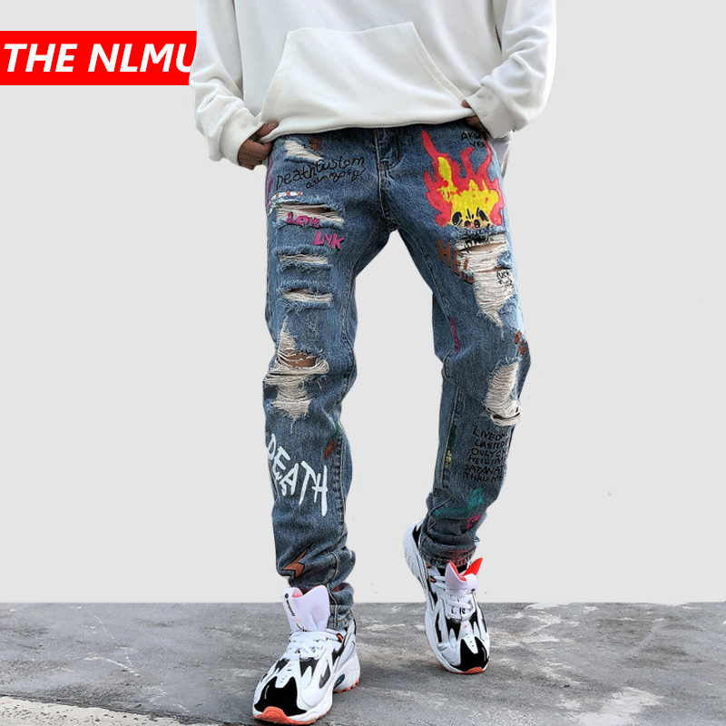 New Skinny Jeans Men Streetwear Destroyed Ripped Jeans Homme Hip Hop Broken Graffiti Print Pencil Biker Denim Pants Hole GM478