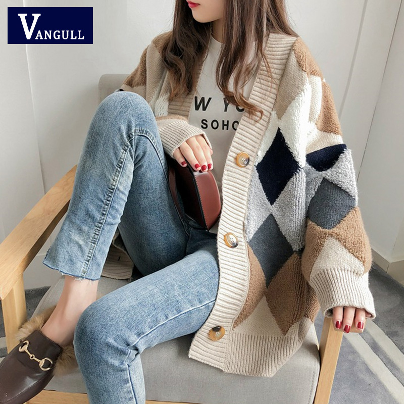 VANGULL Women Sweaters Autumn Winter 2019 fashionable Casual Plaid V Neck Cardigans Single Breasted Puff Sleeve Loose Sweater|Cardigans| - AliExpress