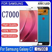 100% teste Super AMOLED Pour Samsung Galaxy C7 C7000 SM-C7000 L'assemblée de convertisseur analogique-Numérique D'écran Tactile d'affichage d'affichage à cristaux liquides de Remplacement Pour C7 LCD