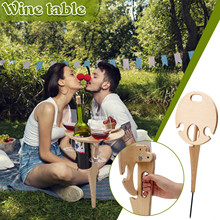 Outdoor Wine Table with Foldable Round Desktop Mini Wooden Picnic Table Easy To Carry Wine Rack Foldable Camping Table 2021