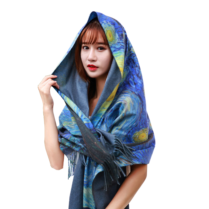 Two Sides New Cashmere Scarf Fashion Women Starry Sky Oil Painting Digital Printing Shawl And Wraps Bandana Female Foulard Tasse