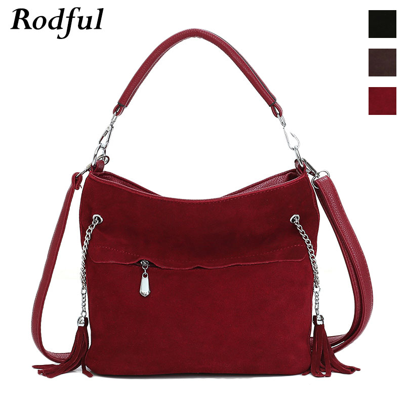 New Fashion Women's Handbag Suede Nubuck Leather Tote Shoulder Bag Female Casual China Ladies Hand Bags For Women 2019 Black Red
