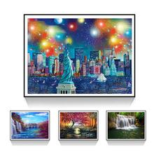 new  40x30cm Color Printing Scenery Cross Stitch Craft DIY Full Round Diamond Painting Embroidery gifts for parents kids scenery
