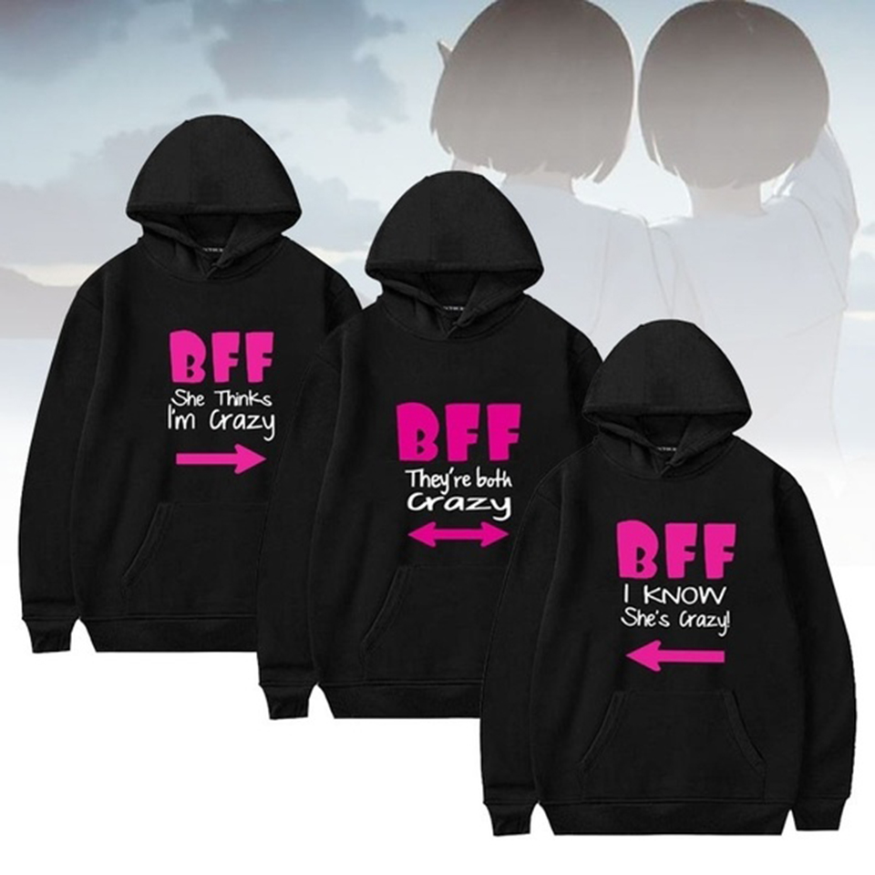 Bff Hoodies Women Best Friends Graphic Hoodie Casual Outwear BFF Matching Friends Hooded Unisex Sport Sweatshirt Pullover Tops