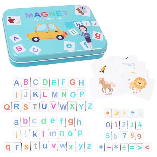 New Kids Wooden Magnetic Alphabet Spelling Words Puzzle Game Baby Early Educational Learning Toys for Children Memory Training