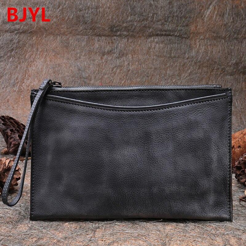 Мужская сумка клатч в стиле ретро, маленькая атмосферная Сумка конверт, кошелек из натуральной кожи ручной работы, винтажный мягкий клапан