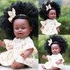 ブラックガール人形アフリカアメリカプレイ人形リアルな35センチメートルベビー人形新生児黒人形リボーンラブリー女の子キッドtodder