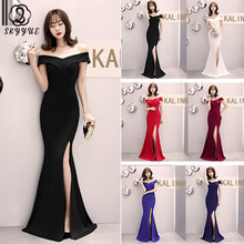 Skyyue Evening Dress Off The Shoulder Women Party Dresses Short Sleeve Robe De Soiree 2019 Split Formal Gowns C087-DS1