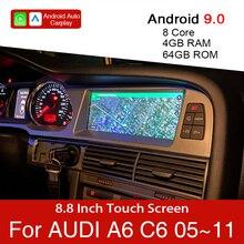 أندرويد 9.0 4 + 64GB سيارة مشغل وسائط متعددة لأودي A6 C6 4f 2005 ~ 2011 سيارة لتحديد المواقع والملاحة شاشة تعمل باللمس ل CarPlay أندرويد السيارات