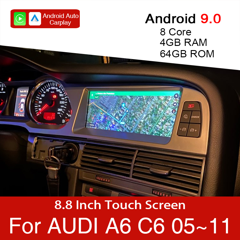 Android 9.0 4+64GB Car Multimedia Player For Audi A6 C6 4f 2005~2011 Car GPS Navigation touch monitor for CarPlay android auto image