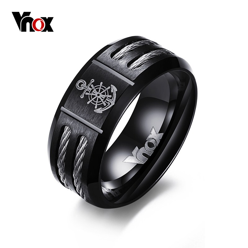 Vnox Men s Rudder Ring Personalize Cool Black Stainless Steel Wia Men Jewelry dropshipping Unique Male
