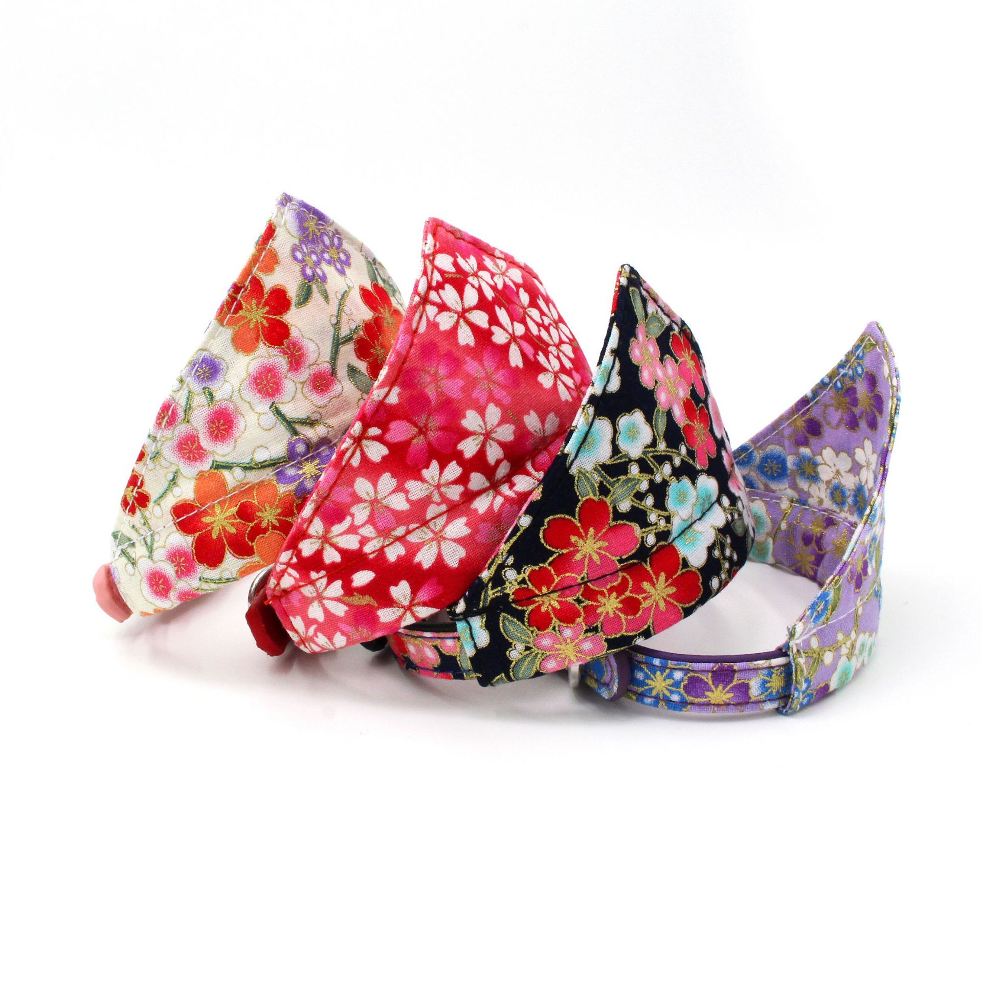 New Style Triangular Binder Japanese Style And Wind Printed Cat Collar Washable Bibs Dog Collar New Style