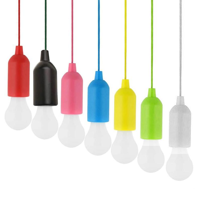 LED Hanging Light Bulb Battery Powered Colorful Pull Cord Bulbs LED Drop Lamps Indoor Lighting Garden Party Christmas Decoration