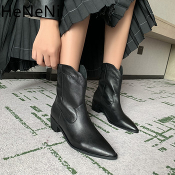Autumn new Genuine Leather Retro Woman Western boots Slip On Ladies Ankle Boots Women Chelsea Boots zapatos de mujer size33 34