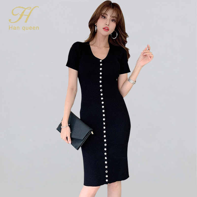H Han Queen Simple Single-breasted Stretch Knitted Dresses Short Sleeve Autumn Dress Casual Work Bodycon Pencil Vestidos Women(China)