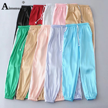 Aimsnug Satin Highlight Harem Pants Women Joggers Streetwear Ankle Length Loose Sports Pants Drawstring Sweatpants Trousers
