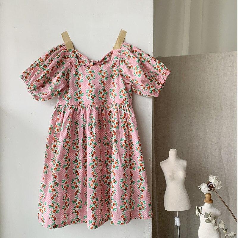 여자 부모-자식 꽃 낮은 칼라 드레스 공주님 드레스 아기를위한 여름 짧은 소매 소녀 드레스 어린이 의류