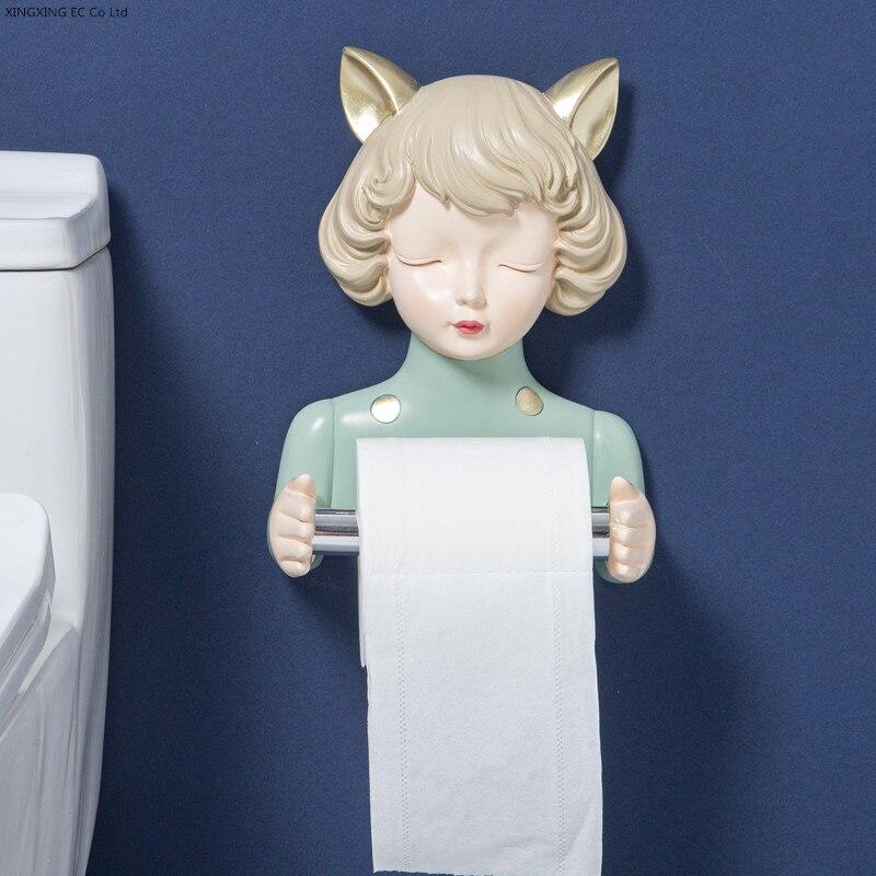 ¨DiscountPaper-Stand Toilet Bathroom Wall-Mounted Cute Cartoon Resin Girl╚