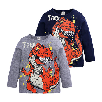 T-shirty z nadrukiem dinozaura t-shirty z nadrukiem wiosna jesień dla dzieci chłopcy topy z bawełny z długim rękawem dla dzieci chłopcy T-shirt moda dla dzieci tanie i dobre opinie ELVESNEST COTTON Cartoon REGULAR O-neck Tees Pełna Pasuje prawda na wymiar weź swój normalny rozmiar 2-ELV-TS045 Spring Autumn