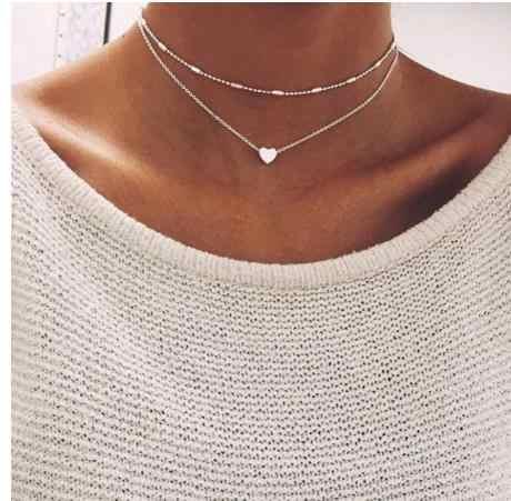 Цепочка чокер с бусинами ожерелье женское простое Бохо Золотое серебро Layerd чокер ожерелье s для женщин колье ожерелье