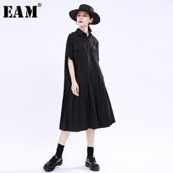 Женское платье-рубашка EAM, черное плиссированное платье большого размера с коротким рукавом и отложным воротником, весенне-летняя мода 2020 ...