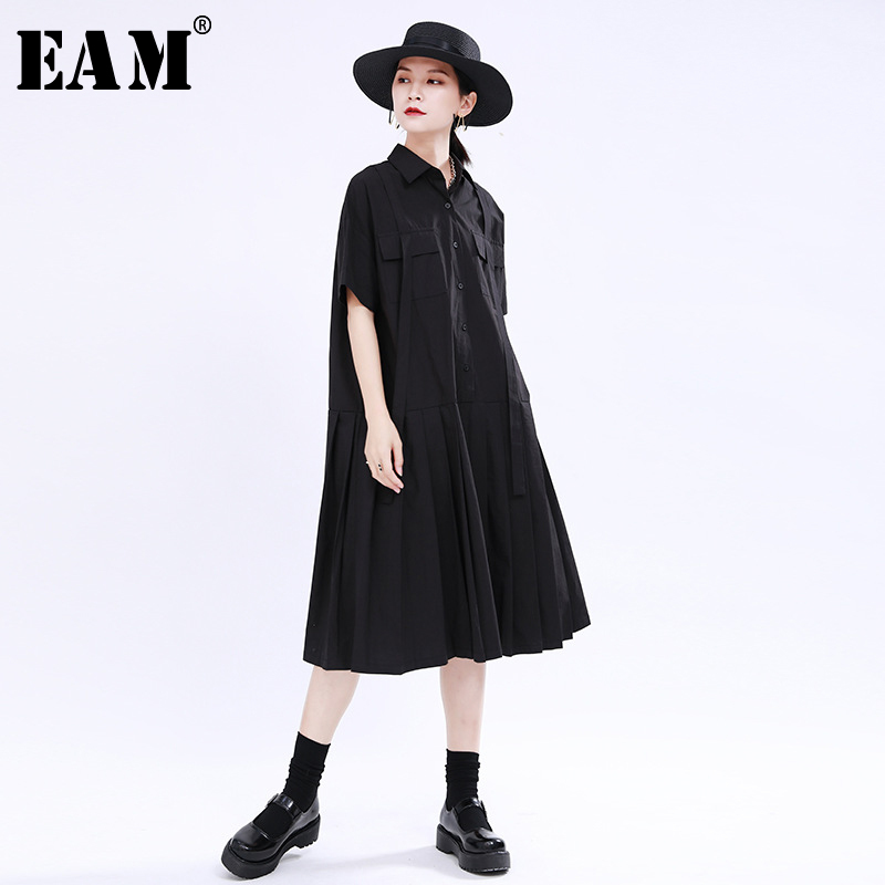 [EAM] Women Black Pleated Split Joitn Big Size Shirt Dress New Lapel Short Sleeve Loose Fit Fashion Spring Summer 2020 1U503