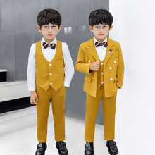 Costume Double-Breasted Clothing-Set Tuxedo Dress Flower Children's-Day-Performance Party