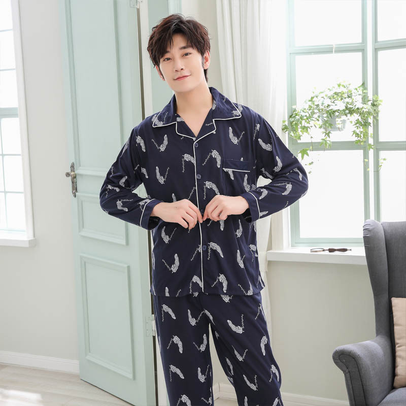 Pyjamas Men Homewear Two-Sets Male Casual Long-Sleeve 100%Cotton Hombre Plus-Size