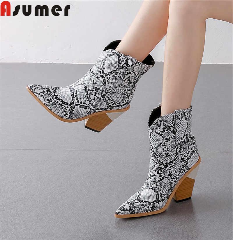 ASUMER 2020 nieuwe westerse laarzen voor vrouwen wees teen slip op dames merk cowboy enkellaarsjes elegante herfst winter vrouwen's laarzen