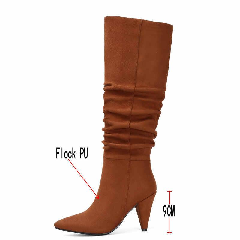 Rood Bruin Zwart Slouchy Kniehoge Laarzen Hakken Wees Teen Dames Laarzen Mode Suede Knie Hoge Laarzen Winter Vrouwen schoenen 2019